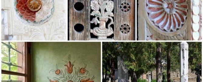 Орнаментальный мотив «роза» в резьбе по камню, дереву, росписи по штукатурке, витражах, вышивке. Ханский дворец.