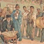Чап (оркестр)Бахчисарай. Музыканты. Открытка, нач. 1930-гг. Худ. Н. Жаба (КП 8987-Г 942, фонды БИКАМЗ)