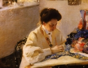 А.А. Мурашко. За пяльцами. (портрет Е.А.Праховой), 1905 г.